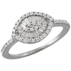 18K Retro White Gold Evil Eye Marquise Cocktail Ring w/Baguette Diamonds .41 ct.