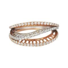 18k Ring 2 Tone Ring White & Rose Gold Ring Diamond Ring 2 Tone Gold Ring