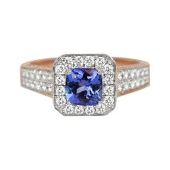 18k Ring 2 Tone Ring White & Rose Gold Ring Diamond Ring Blue Sapphire Ring