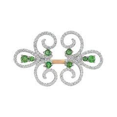 18k Ring 2 Tone Ring White & Rose Gold Ring Diamond Ring Emerald Ring Emerald