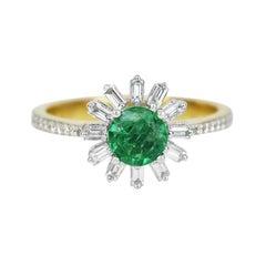 18k Ring 2 Tone Ring White & Yellow Gold Ring Diamond Ring Emerald Ring