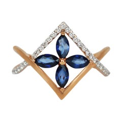 18k Ring Rose Gold Ring Diamond Ring Blue Sapphire Ring Blue Sapphire Marquise