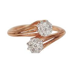 18k Ring Rose Gold Ring Diamond Ring Cluster Ring by Pass Ring