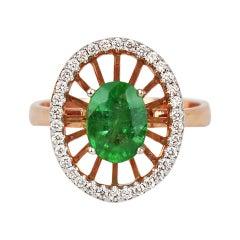 18k Ring Rose Gold Ring Diamond Ring Emerald Ring Emerald Oval Ring Gold
