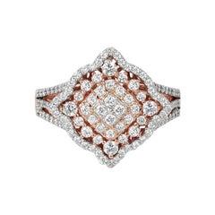18k Ring Rose Gold Ring Diamond Ring Fancy Gold Diamond Ring