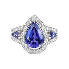 18k Ring White Gold Ring Diamond Ring Blue Sapphire Ring Blue Sapphire Pear