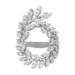 18k Ring White Gold Ring Diamond Ring Diamond Leaves Ring Gold Fancy Ring