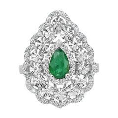 18k Ring White Gold Ring Diamond Ring Emerald Ring Emerald Pear Ring Gold