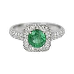 18k Ring White Gold Ring Diamond Ring Emerald Ring Emerald Round Ring