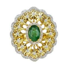 18k Ring Yello Gold Ring Diamond Ring Emerald Ring Emerald Oval Ring Gold