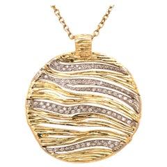 18K Roberto Coin Diamond and Gold Medallion Pendant Yellow Gold