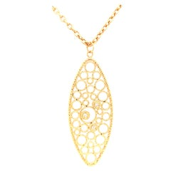 18K Roberto Coin Diamond Open Circle Pendant Yellow Gold