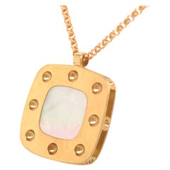 18K Roberto Coin Square Mother of Pearl Necklace Yellow Gold