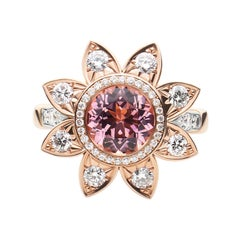 18k Rose and White Gold Diamond Cocktail Ring w 1.09 Ct Round Pink Tourmaline