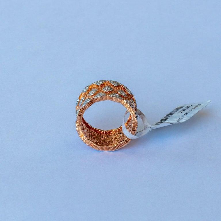 Round Cut 18 Karat Rose and White Gold Diamond Modern Bang Cocktail Fashion Ring For Sale