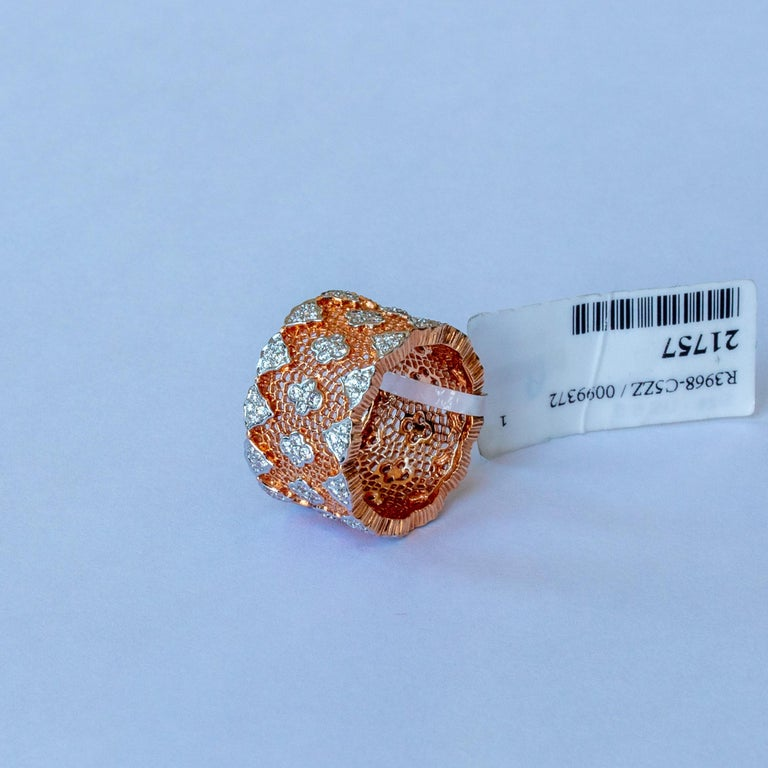 18 Karat Rose and White Gold Diamond Modern Bang Cocktail Fashion Ring In New Condition For Sale In Hong Kong, HK