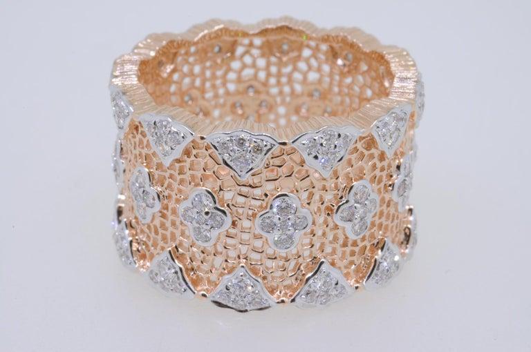 Women's 18 Karat Rose and White Gold Diamond Modern Bang Cocktail Fashion Ring For Sale