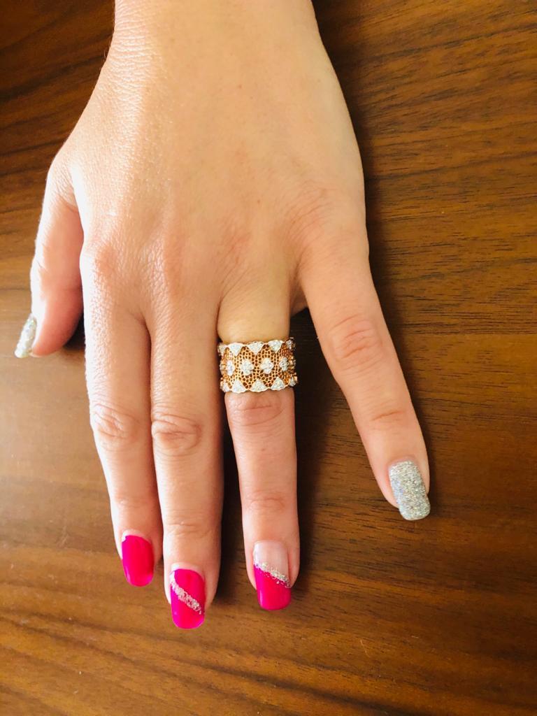 18 Karat Rose and White Gold Diamond Modern Bang Cocktail Fashion Ring For Sale 1