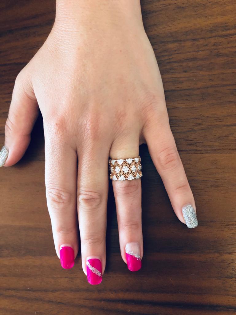 18 Karat Rose and White Gold Diamond Modern Bang Cocktail Fashion Ring For Sale 2