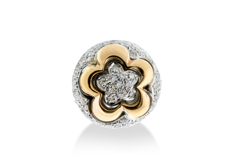 Modern 18 Karat Rose and White Gold Diamond Pave Flower Ear Clips For Sale