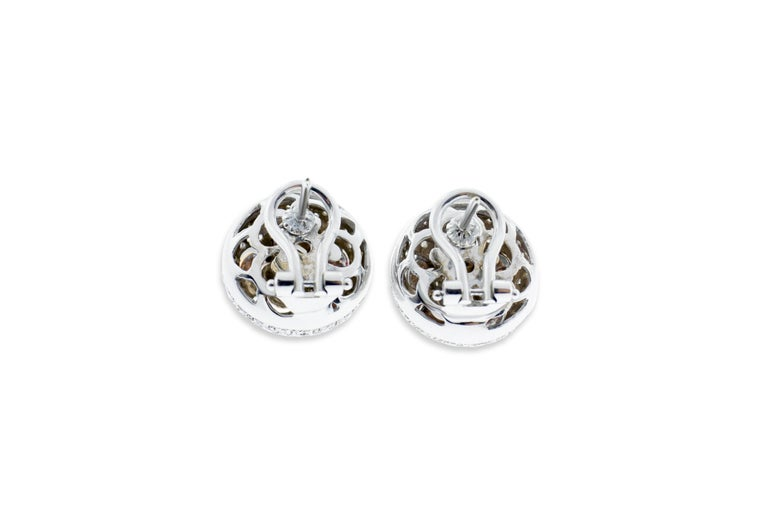 Round Cut 18 Karat Rose and White Gold Diamond Pave Flower Ear Clips For Sale