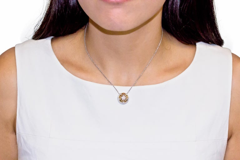 Round Cut 18 Karat Rose and White Gold Flower Pendant Necklace For Sale
