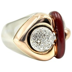18k Rose and White Gold Nouvelle Bague Round Diamond and Enamel Cocktail Ring