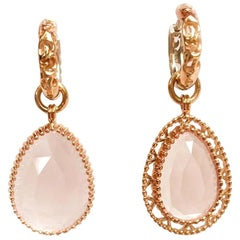 18k Rose and White Gold Scroll Pattern Hoops with Rose Quartz Earring Jackets