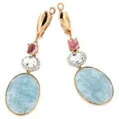 18k Rose and White Gold with Aquamarine Milk Pink Tourmaline Diamonds Earrings