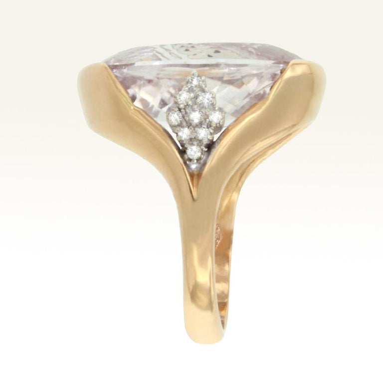 Modern 18 Karat Rose and White Gold with Kunzite and White Diamond Ring For Sale