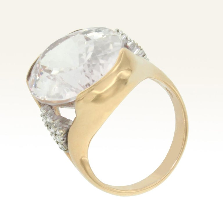 Oval Cut 18 Karat Rose and White Gold with Kunzite and White Diamond Ring For Sale