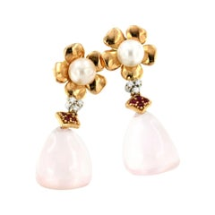 18k Rose and White Gold with Pink Quartz Pearls Ruby and White Diamonds Earrings