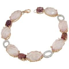 18k Rose and White Gold with Pink Quartz Tourmaline and White Diamonds Bracelet
