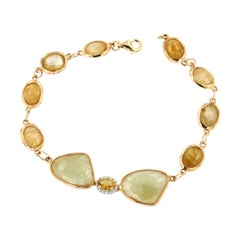 18k Rose and White Gold with Yellow Sapphire Citrine and White Diamonds Bracelet