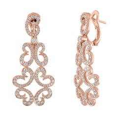 18 Karat Rose Gold and 1.33 Carat Diamond Scroll Earrings