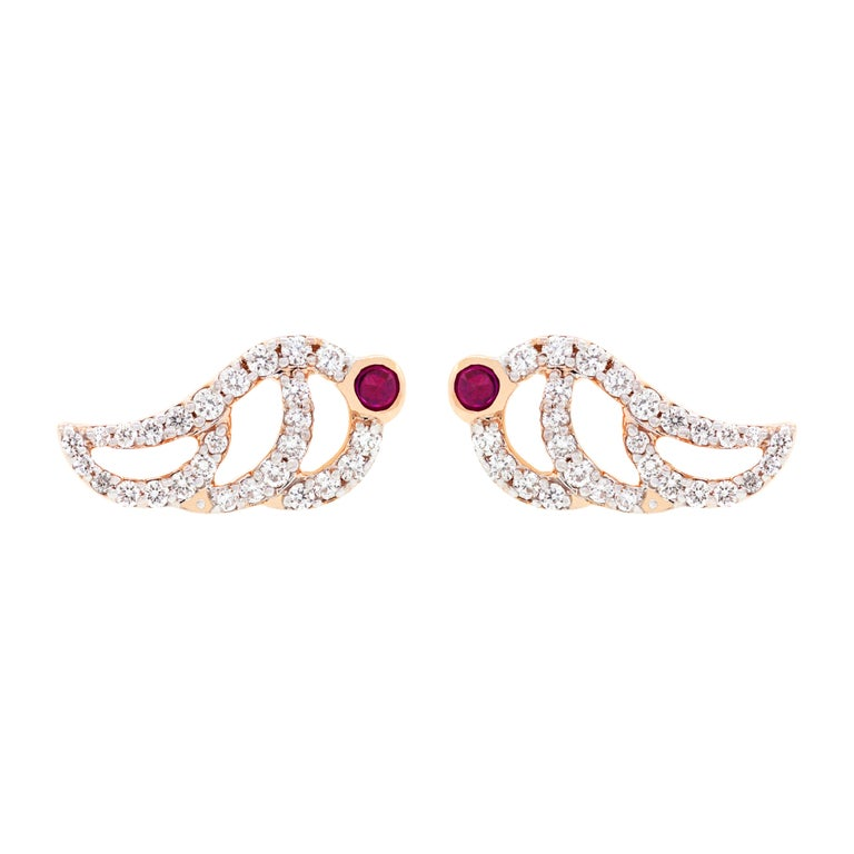 18K Rose Gold & 0.33 cts White Diamonds 0.07 cts Ruby Swan Pave Studs by Alessa 1