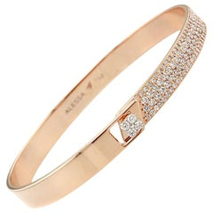 18K Rose Gold & 1.23 Carat Colorless Diamond Half Pave Solid Bracelet by Alessa