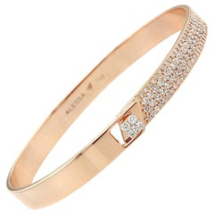 18K Rose Gold & 1.23 cts Colorless Diamond Half Pave Solid Bracelet by Alessa