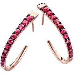 18 Karat Rose Gold 1.66 Carat Pigeon's Blood Ruby Hoop Earrings