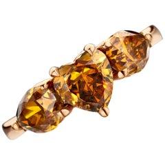18 Karat Gold 3.3 Carat Fancy Cognac Heart and Pear Shape Diamond Trilogy Ring