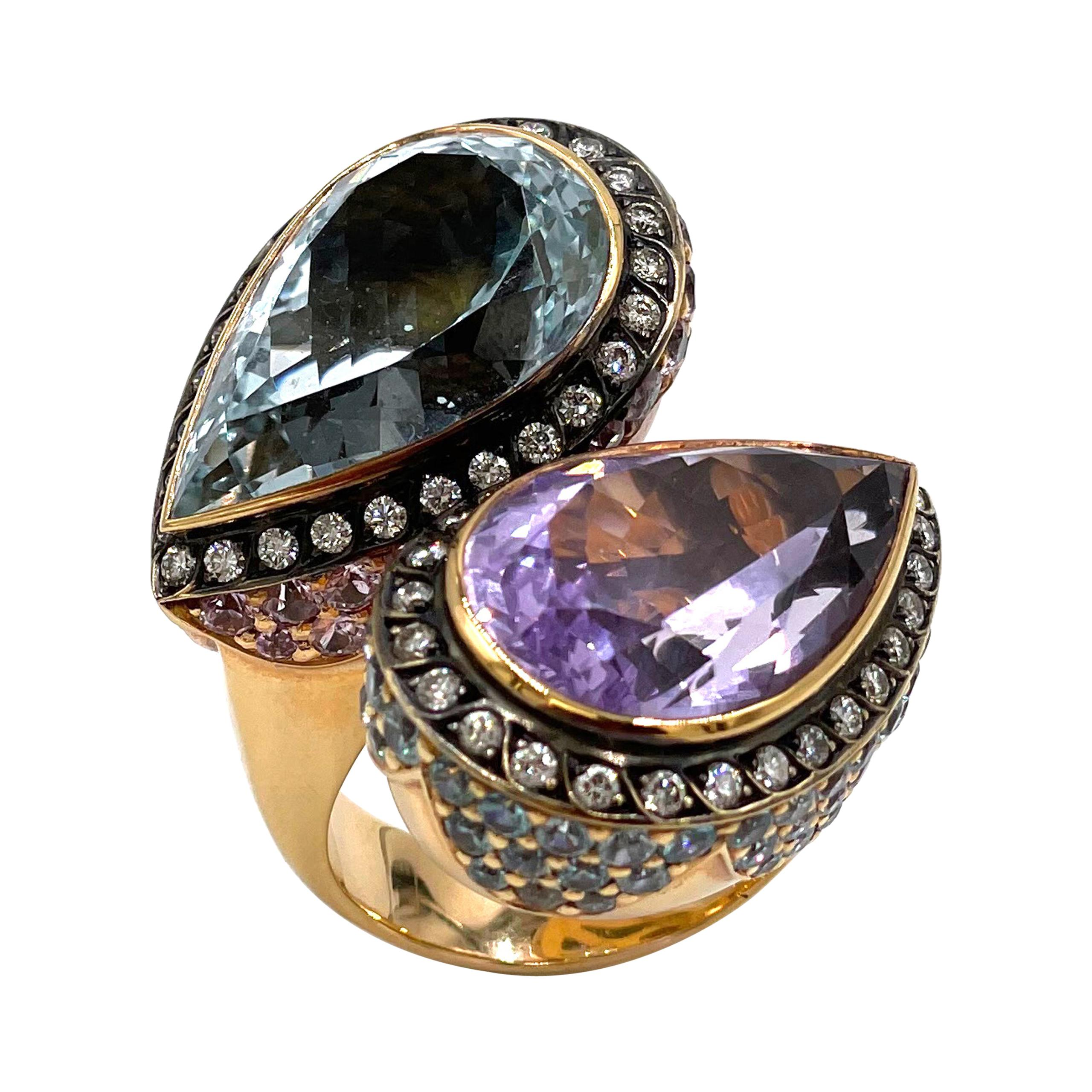 18k Rose Gold Amethyst and Blue Topaz Bypass Ring