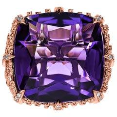 18k Rose Gold, Amethyst & Diamond Dendritic Cocktail Ring