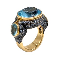 18k Rose Gold and 21.34 Carat Blue Topaz Statement Ring