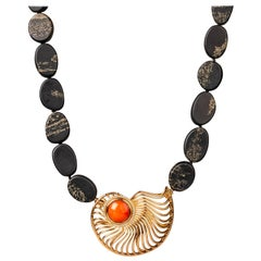 18 Karat Rose Gold and Bustamite Ammonite Clasp on a Slate and Pyrite Necklace