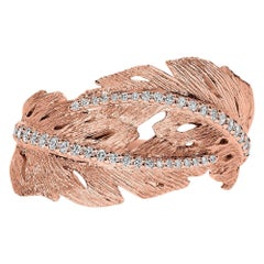 18k Rose Gold and Diamonds Textured Leaf Ring