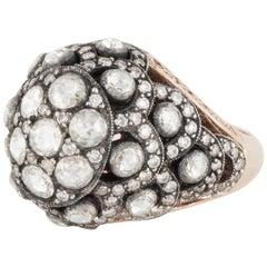 18 Karat Rose Gold and Sterling Diamond Ring