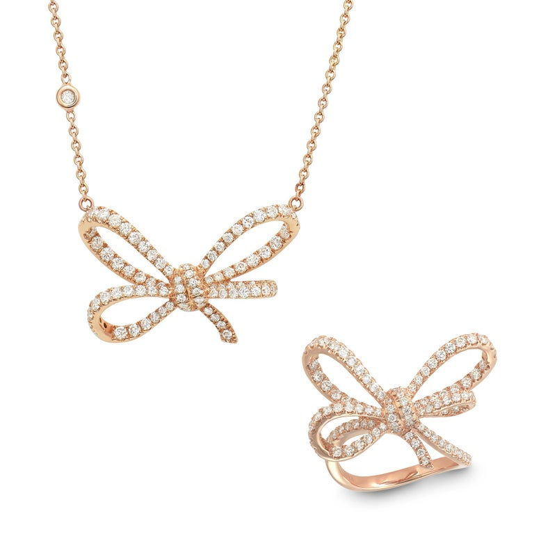 Women's 18 Karat Rose Gold and White Diamonds Bow Cocktail Ring For Sale