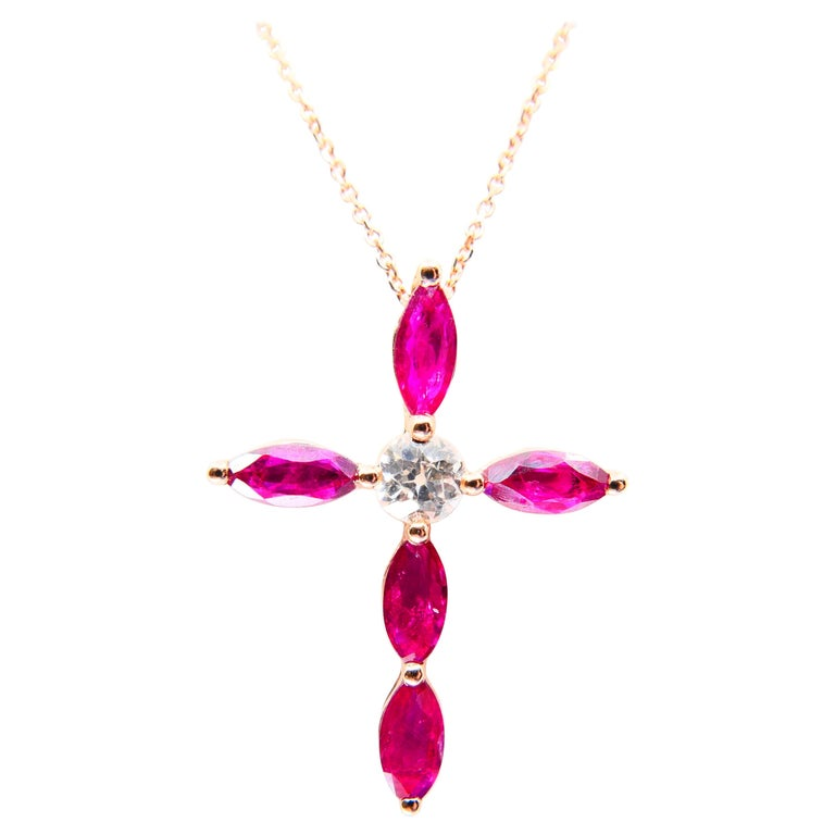 18 Karat Rose Gold, Antique Old Mine Cut Diamond and Burma Rubies Cross Pendant  In New Condition For Sale In Hong Kong, HK