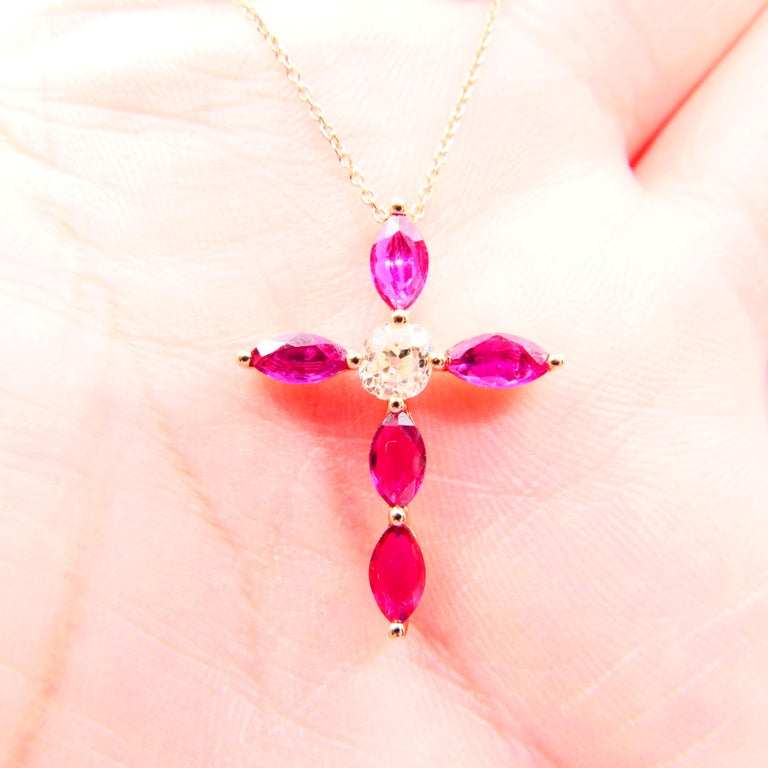 18 Karat Gold Old Mine Cut Diamond and Burma Rubies Cross Pendant Necklace For Sale 5