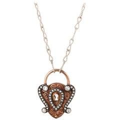 18 Karat Rose Gold Antique Padlock Necklace with 1.84 Carat White Diamonds